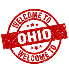 Welcome to ohio red stamp vector