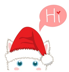 White Cat Sneaking Christmas Day vector image