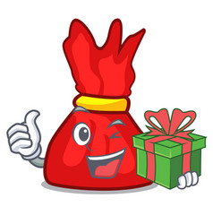 With gift wrapper candy mascot cartoon vector