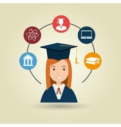 Woman graduation college student vector
