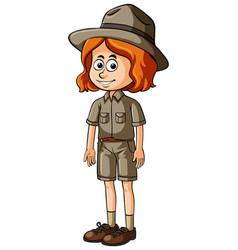 Woman in safari outfit vector