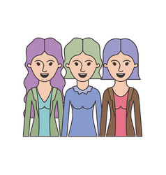 women in half body with casual clothes and wavy vector image