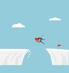 businessman jumping to red flag at cliff vector image vector image