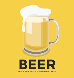 Glass of beer with foam on yellow background vector image