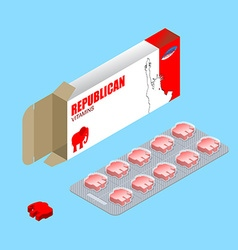 Republican pills in pack Political tablets vector image vector image