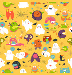 seamless pattern ghosts and monsters halloween vector image vector image