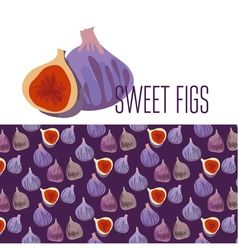 simple flat of fresh fig pattern vector image vector image