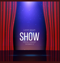 Theater stage with open curtains vector