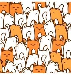 Pattern with cartoon foxes vector image
