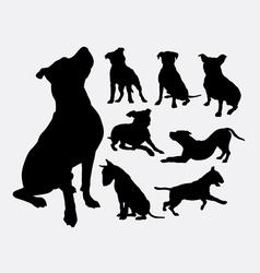 Pitbull bulldog terrier dog animal silhouettes vector