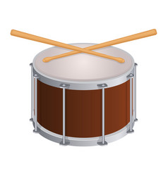 small round drum and wooden sticks to play vector image