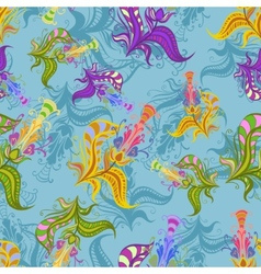 Vintage pattern of colored spring flowers vector image vector image