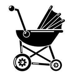 baby carriage retro icon simple black style vector image