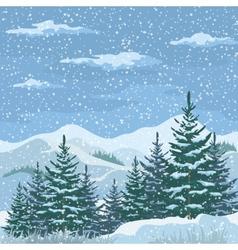 Christmas Winter Mountain Landscape vector image