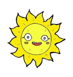 Comic cartoon happy sun vector