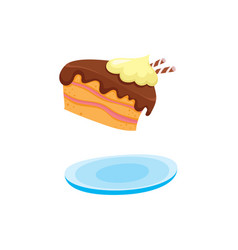 flat cartoon piece of cake at plate vector image