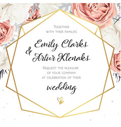 floral wedding invitation invite card design with vector image