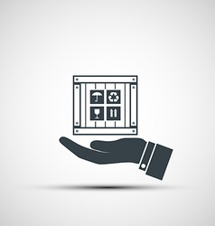 Hand holding a wooden box vector image vector image