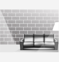 living room interior in black and white style - vector image