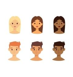 Skine tone faces set vector image
