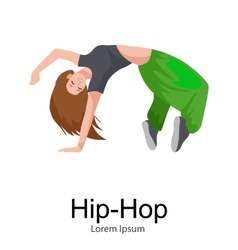 Teenager girl dancing hip hop style isolated vector image