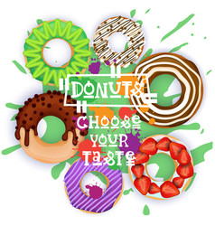 donuts set colorful desserts collection choose vector image