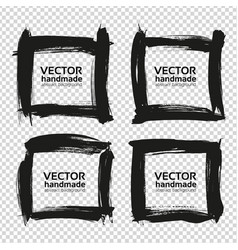 four square frames from black abstract smears vector image vector image