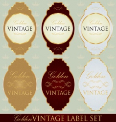 gold label set vector image