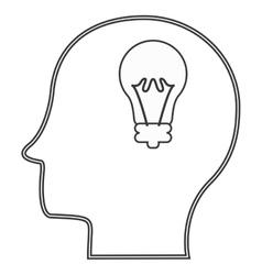 head profile with lightbulb icon vector image