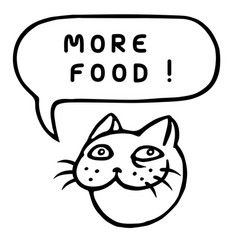 More food cartoon cat head speech bubble vector