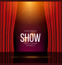 stage with red open curtains vector image vector image
