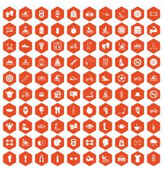 100 men health icons hexagon orange vector
