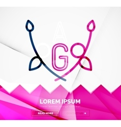 Abstract geometric linear hipster floral icon vector image