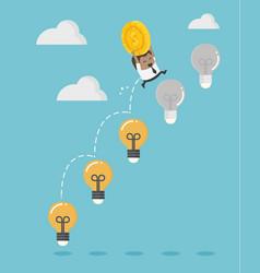 african business up ladder light bulb vector image