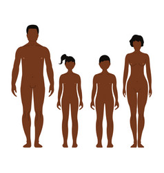 african man woman boy and girl human front side vector image