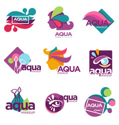 aqua makeup cosmetics brand for women to use vector image