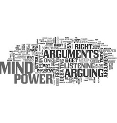 arguments steal mind power text word cloud concept vector image