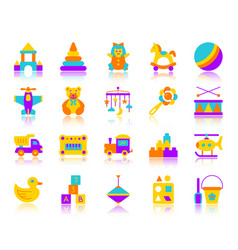 Batoy simple flat color icons set vector