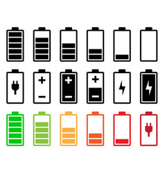 Battery icon set vector