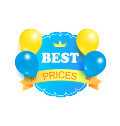 best prices round stamp decorated balloons label vector image