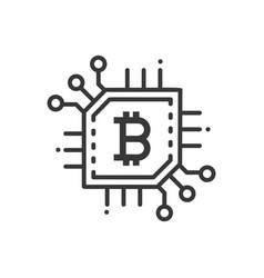 bitcoin - line design single isolated icon vector image