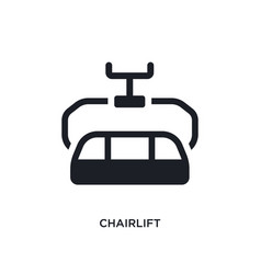 Black chairlift isolated icon simple element from vector