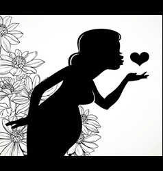 Black silhouette of a beautiful pregnant woman vector