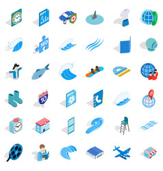 Blue color icons set isometric style vector
