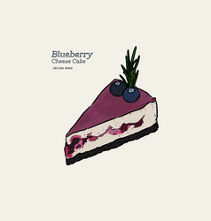 blueberry cheese cake hand draw sketch vector image