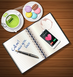 Book and mobile phone with green tea and macaroons vector