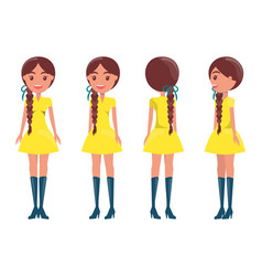 Braided brunette girl in modern elegant look girls vector