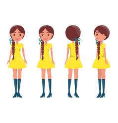 braided brunette girl in modern elegant look girls vector image