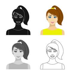 Brunette icon in cartoon style isolated on white vector