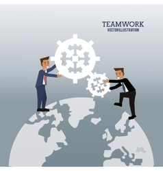 businessmen global cooperation gear graphic vector image